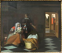 Woman with a Child and a Maid in an Interior, hooch