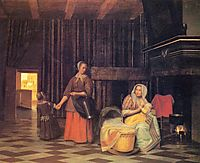 Woman with infant, serving maid with child, c.1663, hooch