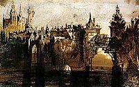 Ville avec le pont de Tumbledown, 1847, hugo