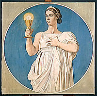Cardboard for the windows of the Chapel of St. Ferdinand: Faith, 1842, ingres