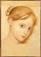 Head of a young blond girl with blue eyes (Laure-Zoega), ingres