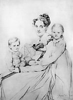 Madame Johann Gotthard Reinhold, born Sophie Amalie Dorothea Wilhelmine Ritter, and her two daughters, Susette and Marie, ingres