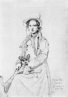 Mademoiselle Henriette Ursule Claire, maybe Thevenin, and her dog Trim, ingres
