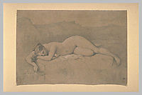 Naked woman lying on a rock, ingres