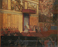 Nomination of a prefect of Rome in the Sistine Chapel, 1848, ingres