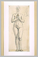 Nude woman standing, front view, hands clasped in front of the chest, 1844, ingres
