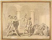 The Oath of the Horatii, according to David, ingres