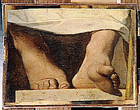 Study for the Apotheosis of Homer, Homer-s feet, 1827, ingres