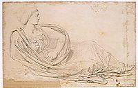 Study for the ceiling of City Hall. Figure symbolizing the city of Madrid, 1853, ingres