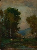 Cows by a Stream, inness