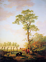 Dutch landscape with cattle and farm, jacobvanstrij