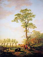 Dutch landscape with cattle and farm, jacobvanstrij