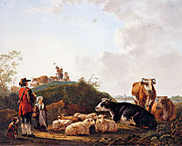 Herdsman with resting cattle, jacobvanstrij