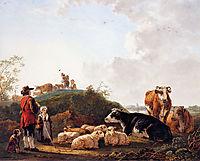 Herdsman with resting cattle, jacobvanstrij