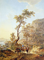Italian landscape with herdsmen couple, jacobvanstrij