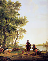 Italian landscape with travellers, jacobvanstrij