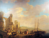 Landscape with coast and ruin , jacobvanstrij