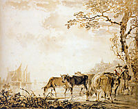 Landscape with cows , jacobvanstrij