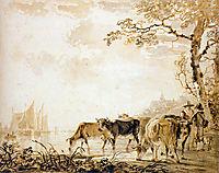Landscape with cows , jacobvanstrij