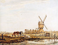 Landscape with mill and cattle , jacobvanstrij