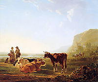 Landscape with resting cows, jacobvanstrij