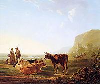 Landscape with resting cows, jacobvanstrij
