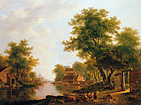 Landscape with river near Dordrecht, jacobvanstrij