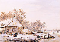 Winter landscape with farm , jacobvanstrij