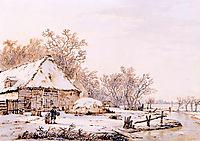 Winter landscape with farm , jacobvanstrij
