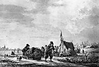 Winterview of men with sledge, jacobvanstrij