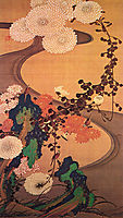 Chrysanthemums by a stream, with rocks, 1760, jakuchu