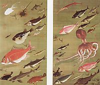 Octopus and Fish, 1760, jakuchu