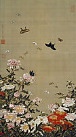 Peonies and Butterflies, jakuchu