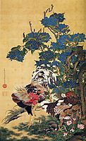 Rooster and Hen with Hydrangeas, jakuchu