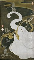 White Elephant and Animals, jakuchu