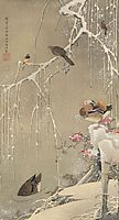 Willow Tree and Mandarin Ducks in the Snow, jakuchu