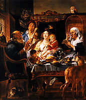As the Old Sang, So the young Pipe, 1644, jordaens