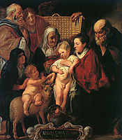 The Holy Family with St. Anne, The Young Baptist, and his Parents, jordaens