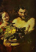 Satyr and Girl with a Basket of Fruit, jordaens