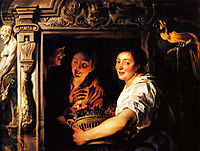 Servant with a fruit basket and a pair of lovers, jordaens
