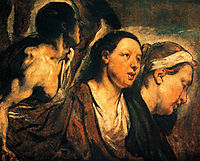 Study of two female heads and torso of a warrior, 1623, jordaens