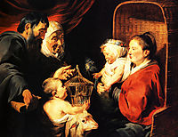 The Virgin and Child in the company of little St. John and his parents, 1617, jordaens