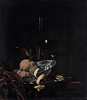 Still-Life with Fruit, Glassware, and a Wanli Bowl, 1659, kalf