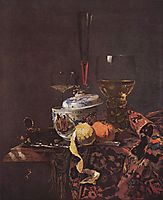 Still life with glassware and porcelain covered bowl, 1662, kalf