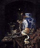 Still-Life with a Late Ming Ginger Jar, 1669, kalf