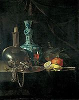 Still Life with a Pilgrim Flask, Candlestick, Porcelain Vase and Fruit, kalf