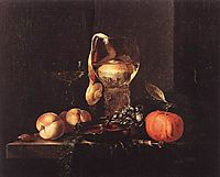 Still-Life with Silver Bowl, Glasses, and Fruit, 1658, kalf