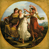 Beauty, supported by Prudence, Scorns the Offering of Folly, c.1780, kauffman
