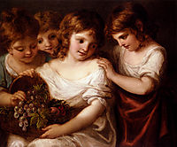 Four Children With A Basket Of Fruit, kauffman