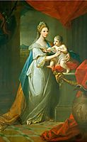 Portrait of Augusta of Hanover with her first born son Karl Georg of Brunswick, 1767, kauffman